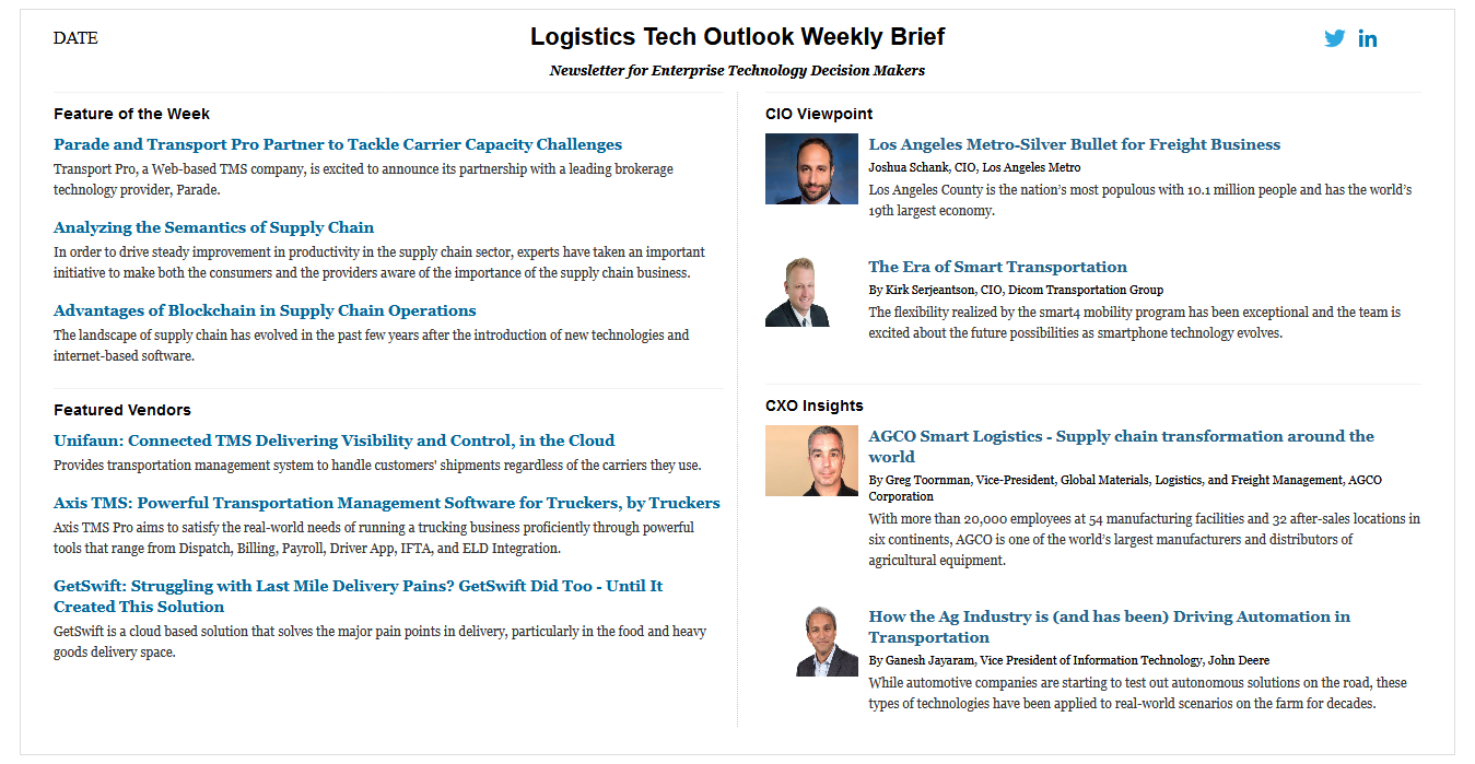 Weekly Newsletter Signup | Vendors, CIO Viewpoint, CXO Insights